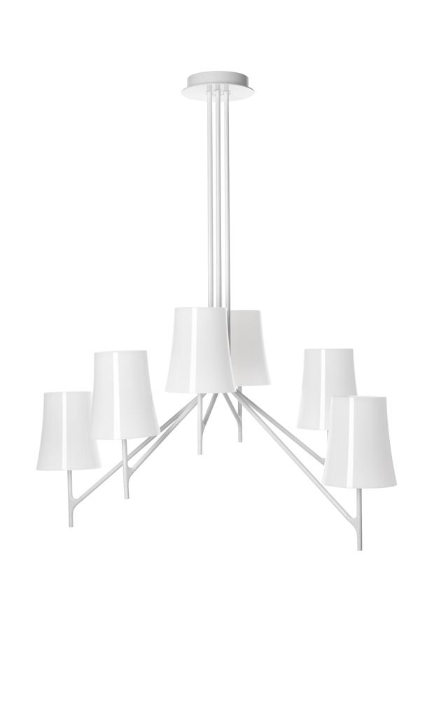 Lampada da soffitto Birdie in policarbonato e alluminio verniciato color bianco realizzata da Ludovica+Roberto Palomba per Foscarini