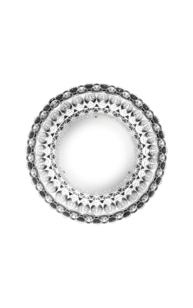 Lampada da tavolo Caboche trasparente in polimetilmetacrilato, vetro soffiato e metallo cromato realizzata da Patricia Urquiola per Foscarini