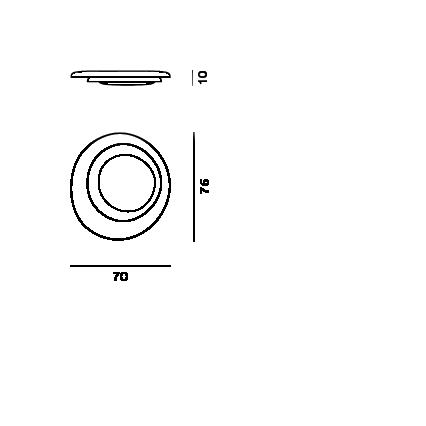 Disegno tecnico della lampada da soffitto Bahia