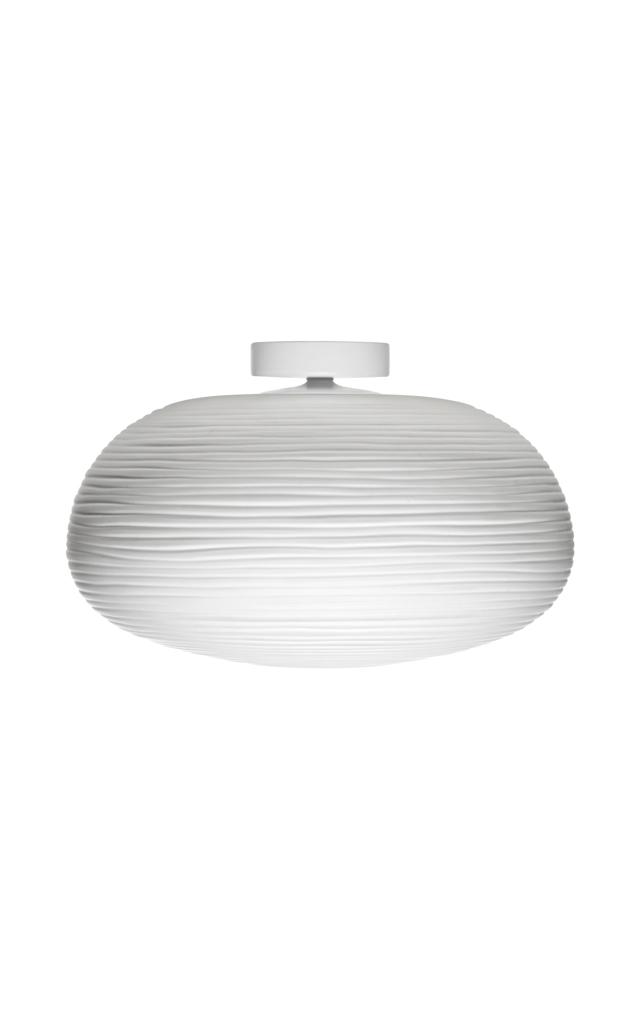 Lampada da soffitto Rituals 2 in vetro soffiato satinato inciso e metallo verniciato color bianco realizzata da Ludovica+Roberto Palomba per Foscarini