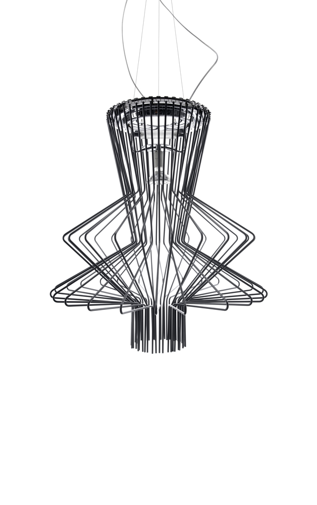 Lampada a sospensione Allegro Ritmico in alluminio verniciato e metallo cromato color grafite realizzata da Atelier Oï per Foscarini