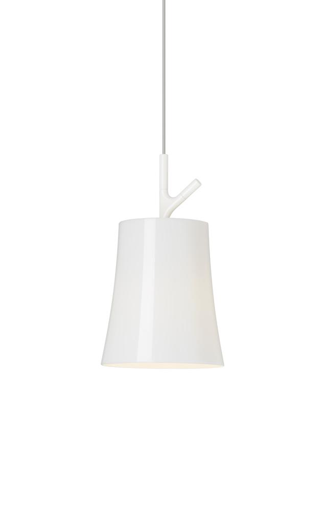 Lampada a sospensione Birdie in policarbonato e alluminio verniciato color bianco realizzata da Ludovica+Roberto Palomba per Foscarini
