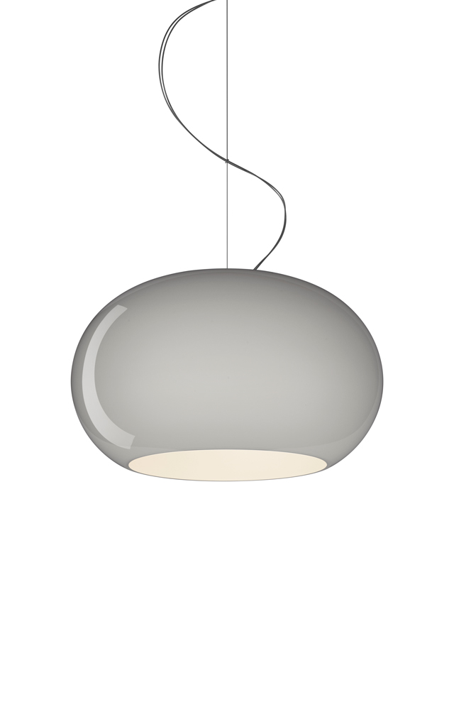 Lampada a sospensione Buds 2 in vetro soffiato color grigio realizzata da Rodolfo Dordoni per Foscarini