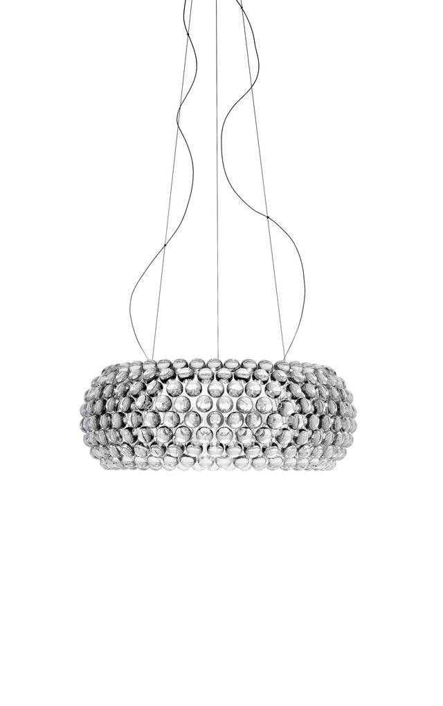 Lampada a sospensione Caboche trasparente in polimetilmetacrilato, vetro soffiato, metallo cromato e alluminio realizzata da Patricia Urquiola per Foscarini