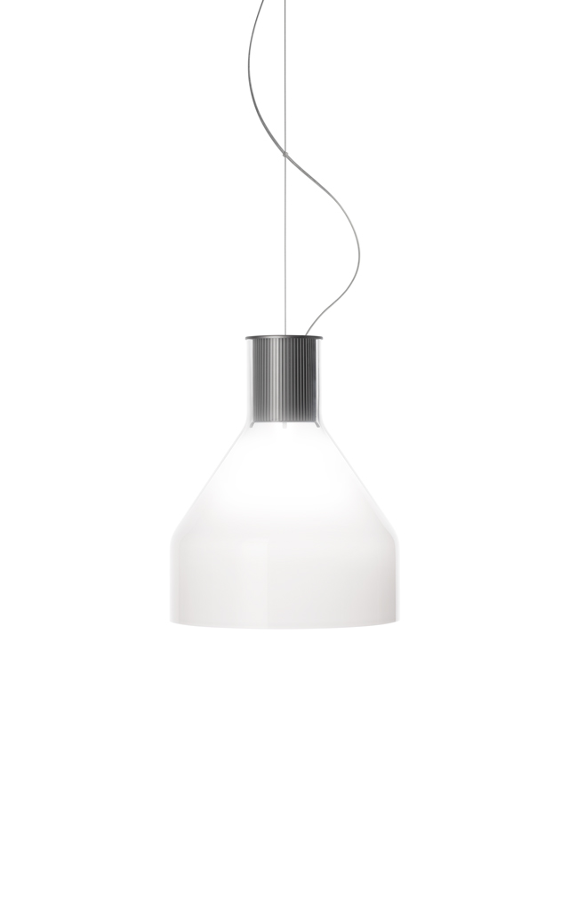 Lampada a sospensione Caiigo in vetro soffiato e alluminio creata da Marco Zito per Foscarini