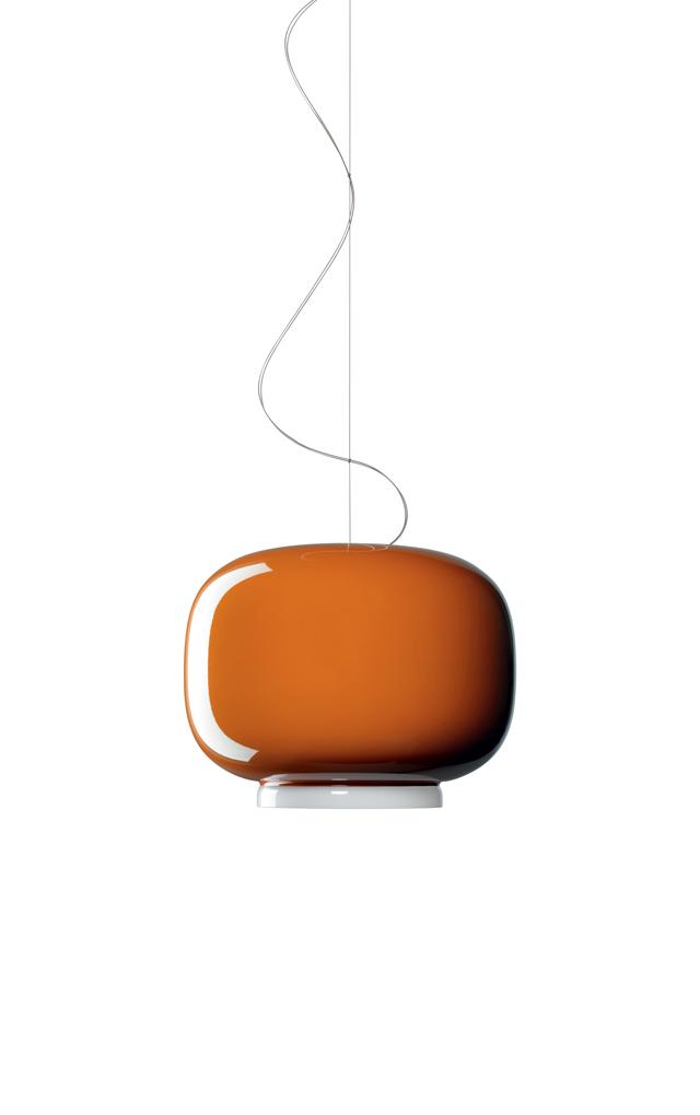Lampada a sospensione Chouchin 1 in vetro soffiato verniciato color arancio realizzata da Ionna Vautrin per Foscarini