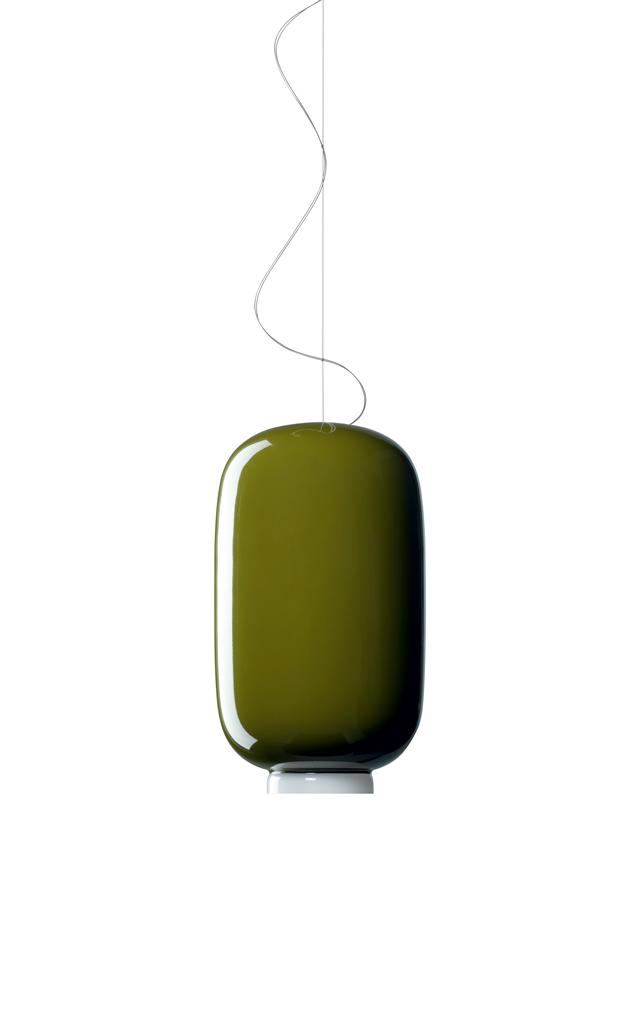 Lampada a sospensione Chouchin 2 in vetro soffiato verniciato color verde realizzata da Ionna Vautrin per Foscarini