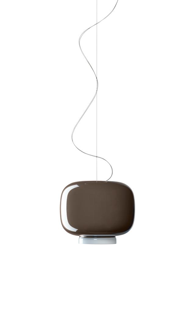 Lampada a sospensione Chouchin 3 in vetro soffiato verniciato color grigio realizzata da Ionna Vautrin per Foscarini