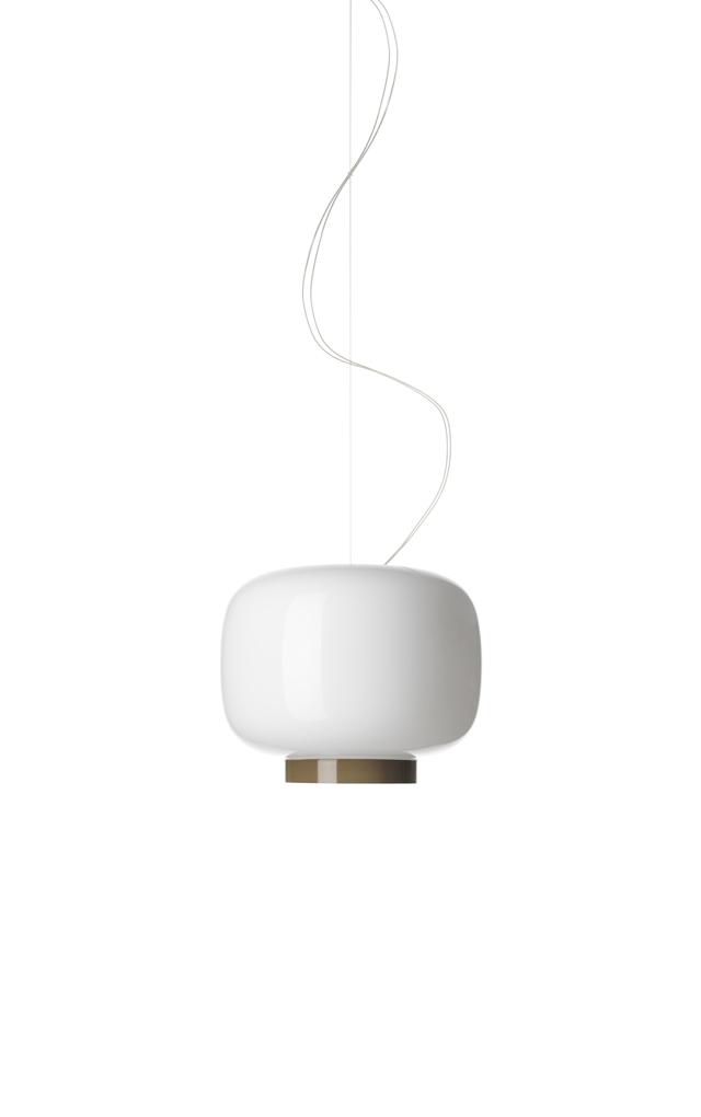 Lampada a sospensione Chouchin Reverse 3 in vetro soffiato verniciato color bianco e grigio realizzata da Ionna Vautrin per Foscarini