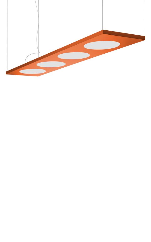 Lampada a sospensione Dolmen in alluminio verniciato e PMMA color arancio realizzata da Pietro Ferruccio Laviani per Foscarini