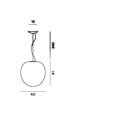 Disegno tecnico della lampada a sospensione Rituals XL e Rituals XL MyLight