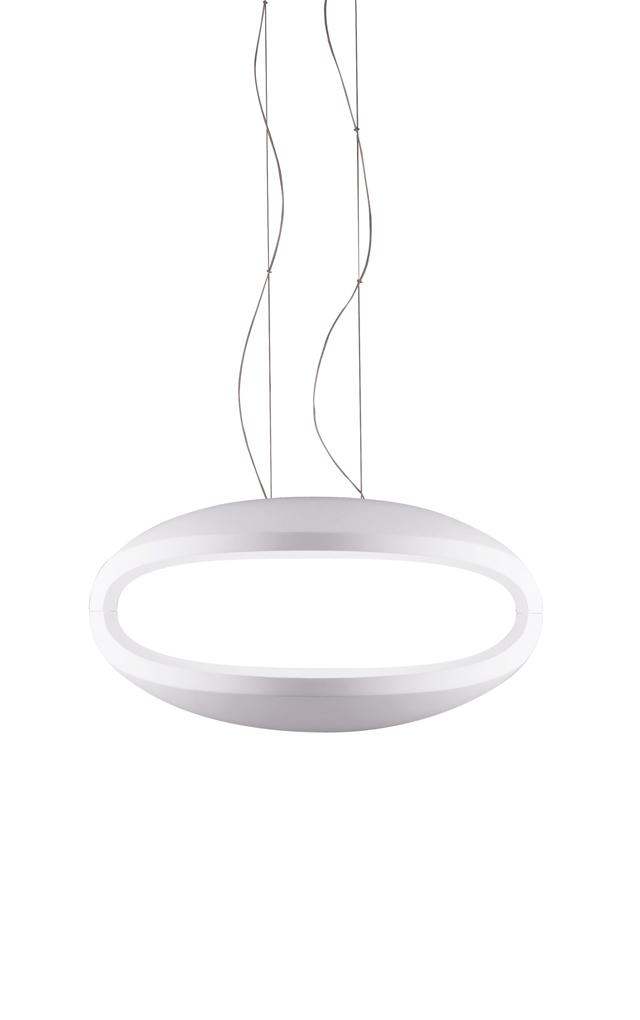 Lampada a sospensione O-Space in poliuretano espanso e metallo cromato color bianco realizzata da Luca Nichetto per Foscarini