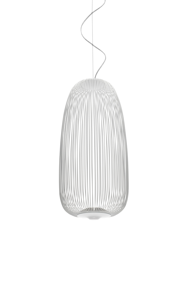 Lampada a sospensione Spokes 1 in acciaio e alluminio verniciato color bianco creata da Garcia Cumini per Foscarini