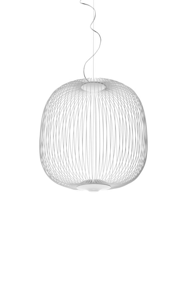 Lampada a sospensione Spokes 2 in acciaio e alluminio verniciato color bianco creata da Garcia Cumini per Foscarini