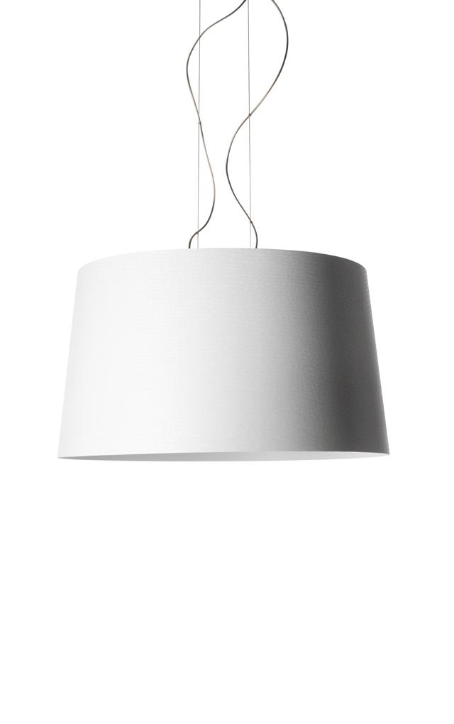 Lampada a sospensione Twice As Twiggy in materiale composito su base di fibra di vetro laccato, PMMA, metallo verniciato e alluminio color bianco realizzata da Marc Sadler per Foscarini