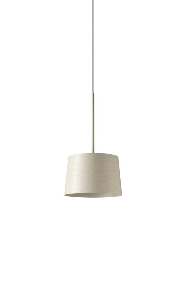 Lampada a sospensione Twiggy in materiale composito su base di fibra di vetro verniciato, policarbonato, PMMA e acciaio color bianco realizzata da Marc Sadler per Foscarini