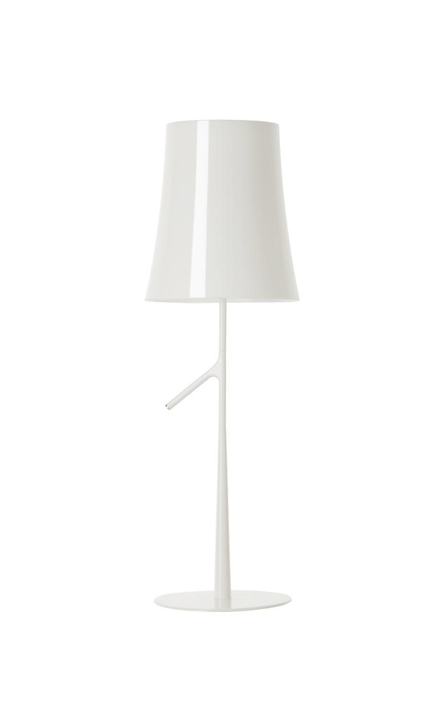 Lampada da tavolo Birdie in policarbonato, acciaio e metallo verniciati color bianco realizzata da Ludovica+Roberto Palomba per Foscarini