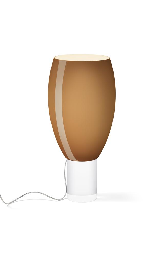 Lampada da tavolo Buds 1 in vetro soffiato e PMMA color marrone realizzata da Rodolfo Dordoni per Foscarini