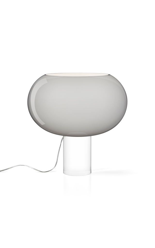 Lampada da tavolo Buds 2 in vetro soffiato e PMMA color grigio realizzata da Rodolfo Dordoni per Foscarini