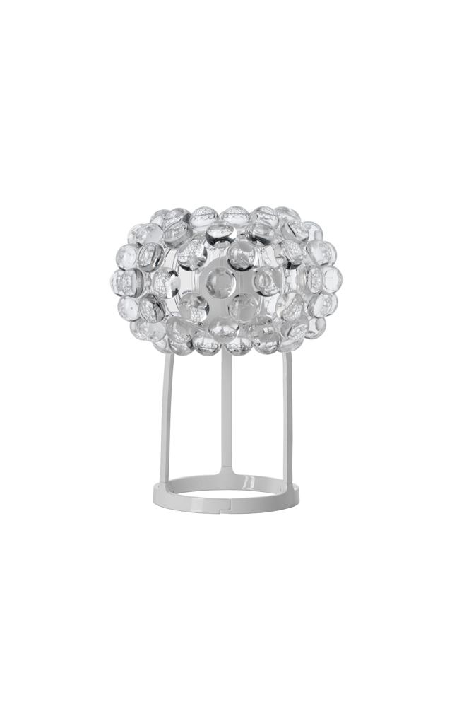 Lampada da tavolo Caboche trasparente in polimetilmetacrilato, vetro soffiato, metallo cromato e alluminio verniciato realizzata da Patricia Urquiola per Foscarini