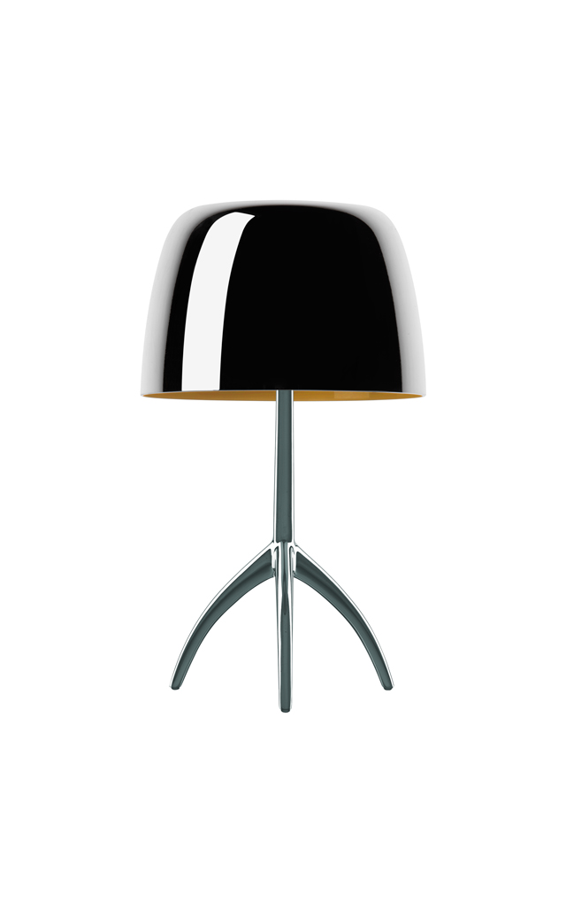 Lampada da tavolo Lumiere 25th in vetro soffiato e specchiato color nero e alluminio spazzolato realizzata da Rodolfo Dordoni per Foscarini