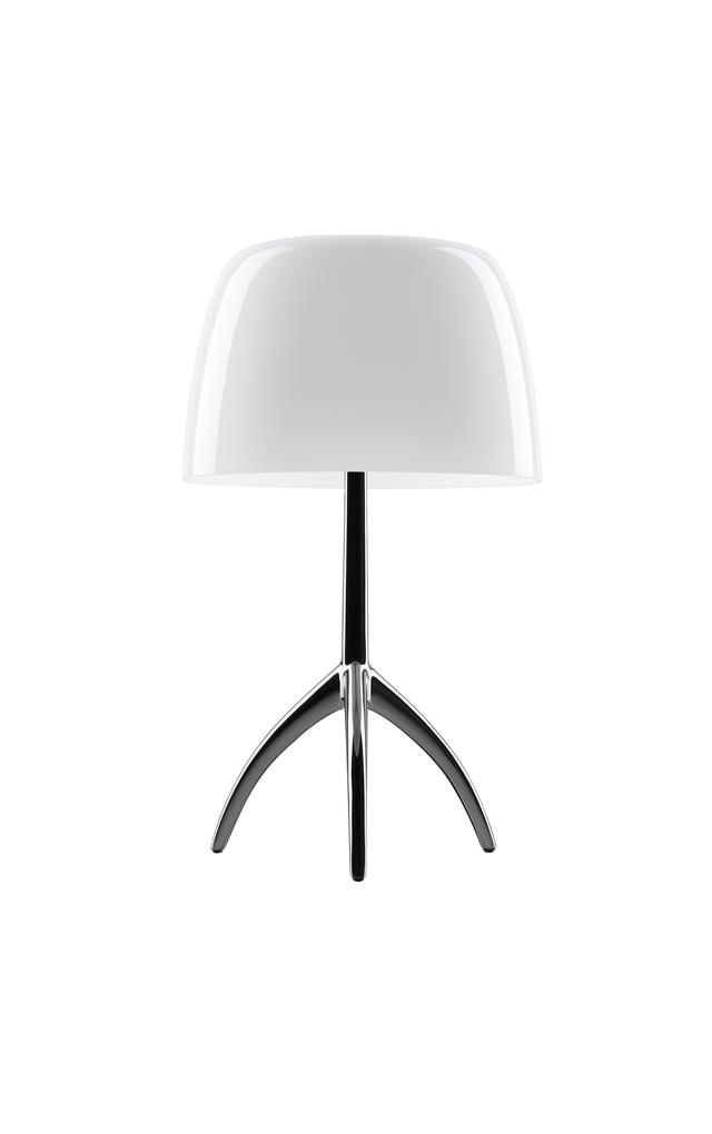 Lampada da tavolo Lumiere in vetro soffiato color bianco e alluminio lucido realizzata da Rodolfo Dordoni per Foscarini
