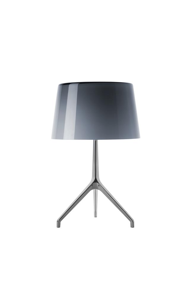 Lampada da tavolo Lumiere XX in vetro soffiato color grigio freddo e alluminio laccato realizzata da Rodolfo Dordoni per Foscarini