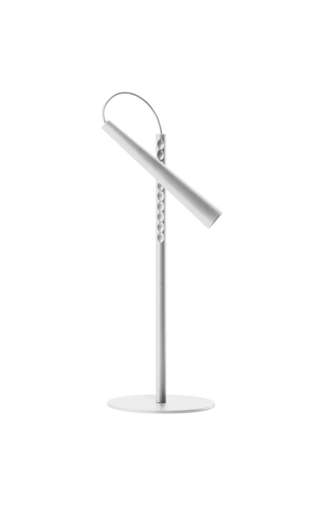 Lampada da tavolo Magneto in acciaio verniciato color bianco, ABS e supermagnete in 'terre rare' realizzata da Giulio Iacchetti per Foscarini