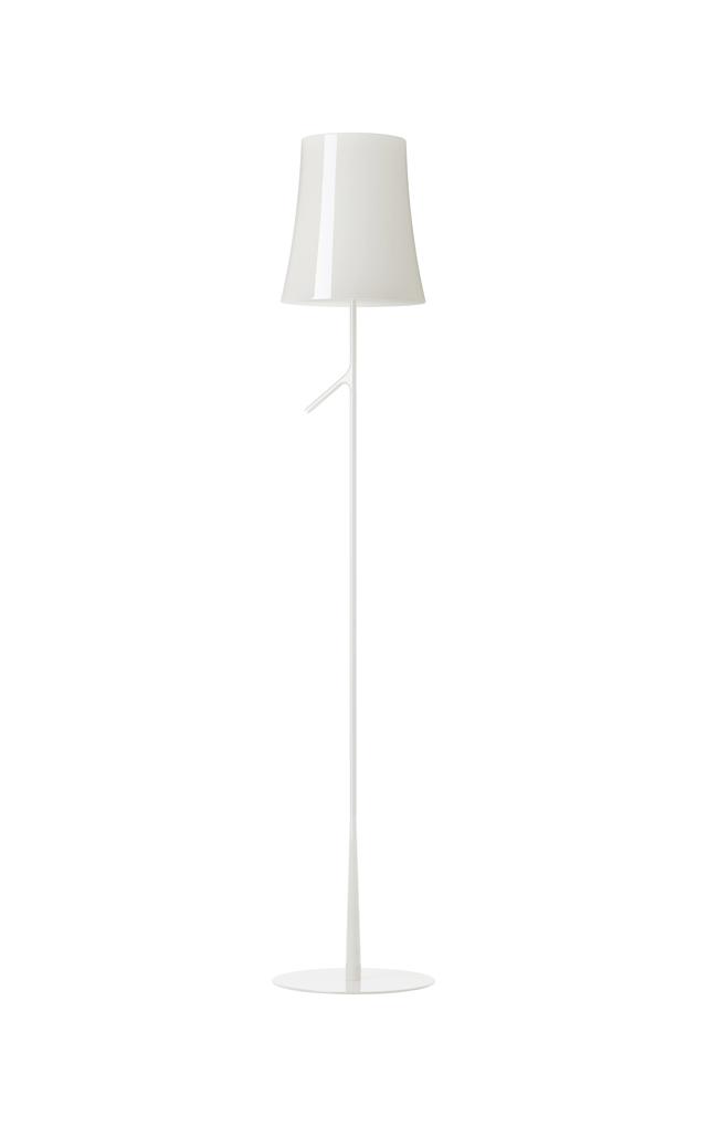 Lampada da terra Birdie Lettura in policarbonato, acciaio e metallo verniciati color bianco realizzata da Ludovica+Roberto Palomba per Foscarini