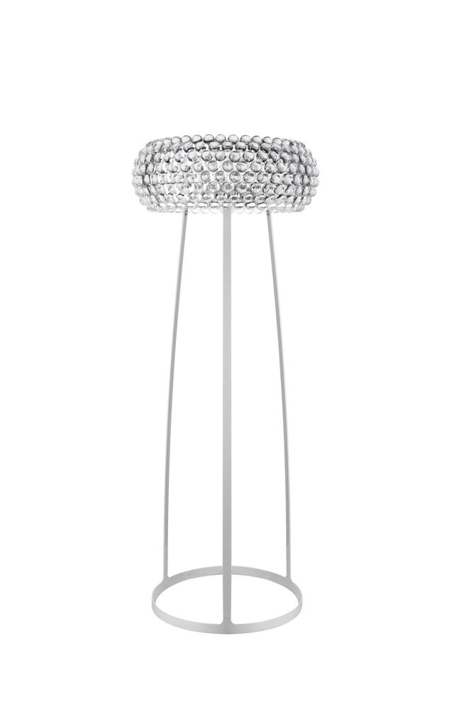 Lampada da terra Caboche trasparente in polimetilmetacrilato, vetro soffiato, metallo cromato e alluminio verniciato realizzata da Patricia Urquiola per Foscarini