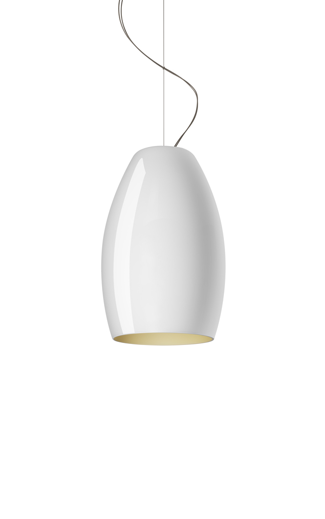 Lampada a sospensione Buds 1 in vetro soffiato color bianco realizzata da Rodolfo Dordoni per Foscarini