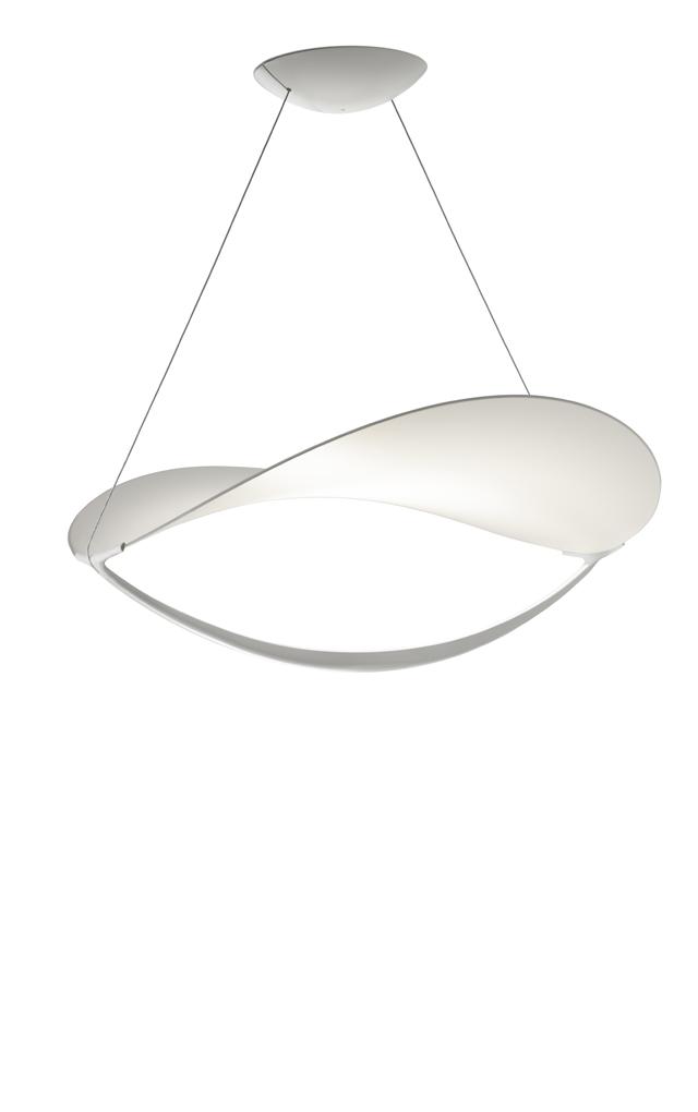 Lampada a sospensione Plena in PVC e alluminio verniciato color bianco realizzata da Eugenio Gargioni e Guillaume Albouy per Foscarini