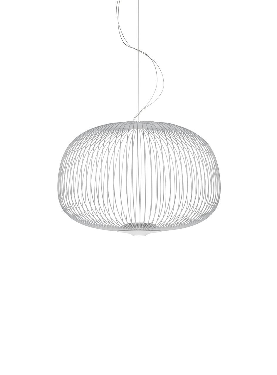 Lampada a sospensione Spokes 3 in acciaio e alluminio verniciato color bianco