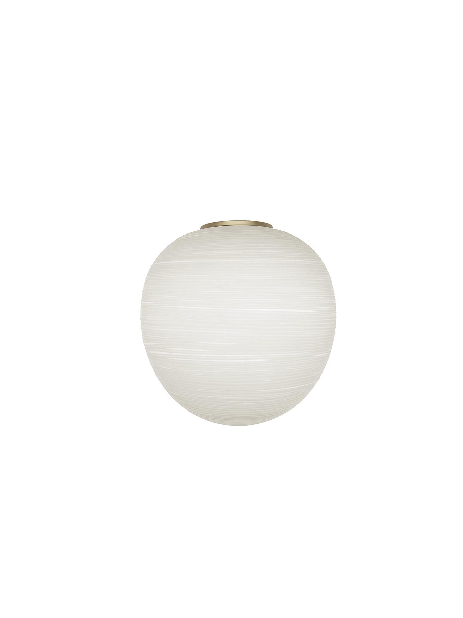 Lampada da parete Rituals XL Mix&Match in vetro soffiato satinato inciso e metallo verniciato color oro realizzata da Ludovica+Roberto Palomba per Foscarini